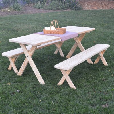 Starkey Pine Cross-leg Picnic Table with 2 Benches Finish: Unfinished