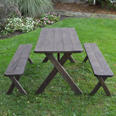 Riverhead Pine Cross-leg Picnic Table with 2 Benches Finish: Walnut Stain