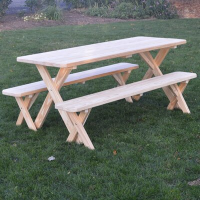 Silverheels Pine Cross-leg Picnic Table with 2 Benches Finish: Unfinished