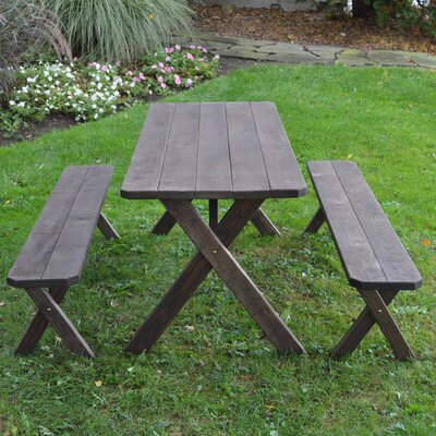 Silverheels Pine Cross-leg Picnic Table with 2 Benches Finish: Walnut Stain