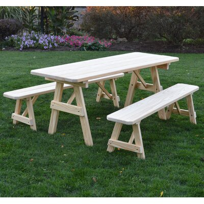Summerhill Pine Picnic Table with 2 Benches Finish: Unfinished