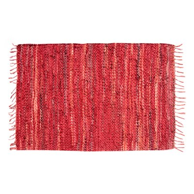 Recio Hand-Woven Red Area Rug Rug Size: Round 6