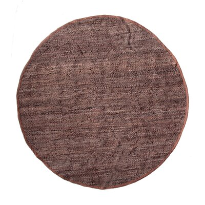 Recio Hand-Woven Brown Area Rug Rug Size: Round 3