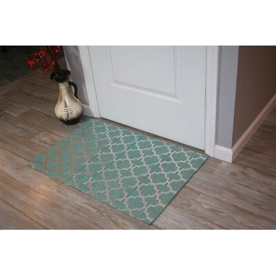 Foil Print Hand-Woven Teal Area Rug Rug Size: Rectangle 18 x 26