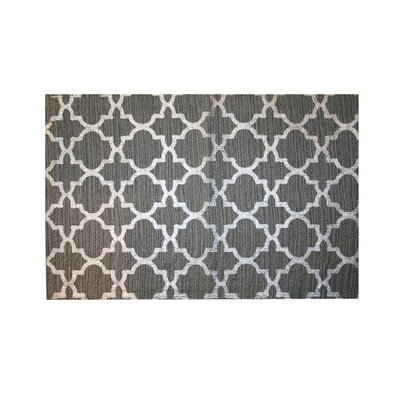 Foil Print Hand-Woven Gray Area Rug Rug Size: 18 x 26