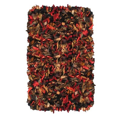 Leather Shaggy Hand-Woven Multi Area Rug Rug Size: 36 x 57