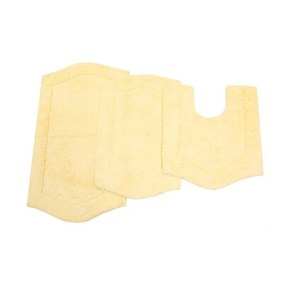 Waterford 3 Piece Bath Rug Set Color: Butter