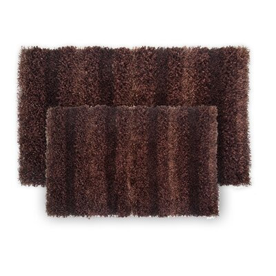 SeaBreeze 2 Piece Hand-Woven Chocolate Novelty Rug Set