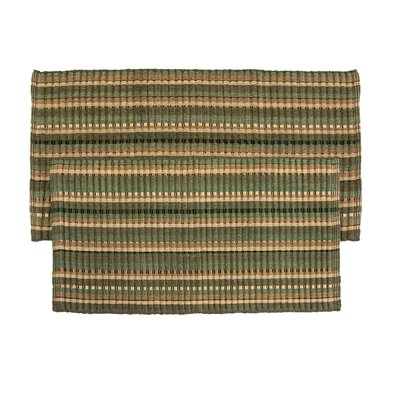 2 Piece Silk Ribbed Hand-Woven Olive Green Area Rug Set
