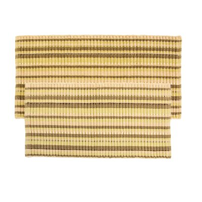 2 Piece Silk Ribbed Hand-Woven Flax Sage Area Rug Set