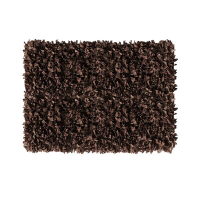 Shaggy Hand-Knotted Dark Brown Area Rug