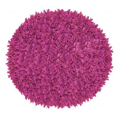 Kaylyn Shaggy Round Hand-Knotted Pink Area Rug Size: Round 3
