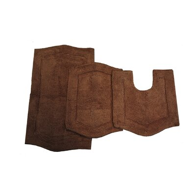 Waterford 3 Piece Bath Rug Set Color: Chocolate