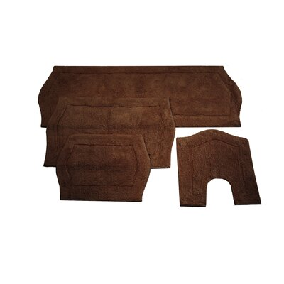 Waterford 4 Piece Bath Rug Set Color: Chocolate