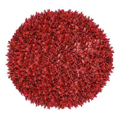 Kaylyn Shaggy Round Hand-Knotted Red Area Rug Size: Round 3