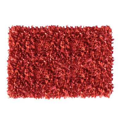Shaggy Hand-Knotted Red Indoor/Outdoor Area Rug