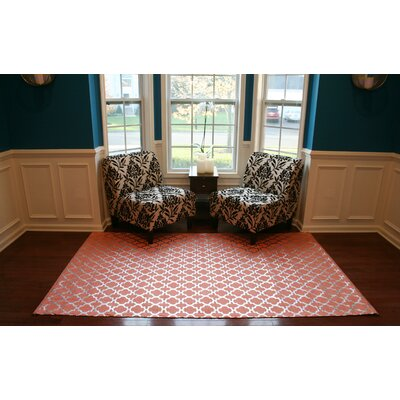 Hand-Woven Coral Area Rug