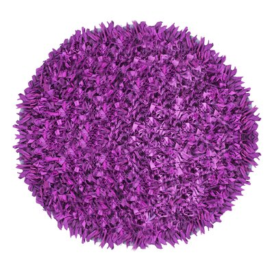 Kaylyn Shaggy Round Hand-Knotted Purple Area Rug Size: Round 3