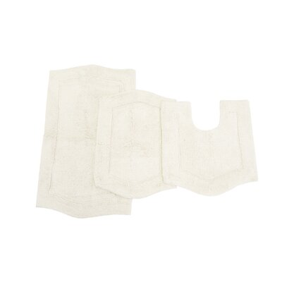 Waterford 3 Piece Bath Rug Set Color: White
