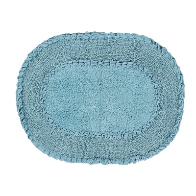 Yinka Double Ruffle Bath Rug Size: 21 W x 54 L, Color: Blue