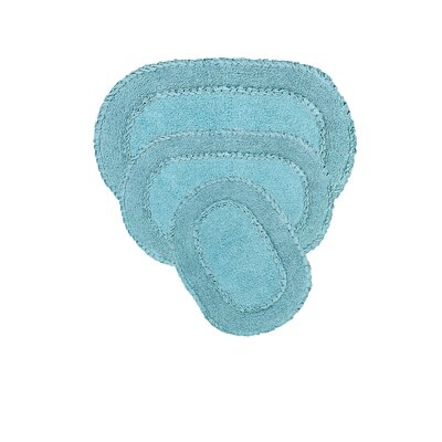 Yashvi Double Ruffle 3 Piece Bath Rug Set Color: Blue