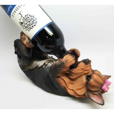 Coyne Faux Puppy Yorkie Dog 1 Bottle Tabletop Wine Rack