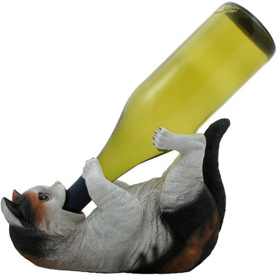 Damiane Faux Kitty Cat 1 Bottle Tabletop Wine Rack Finish: Gray/Black