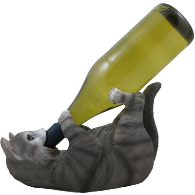 Damiane Faux Kitty Cat 1 Bottle Tabletop Wine Rack Finish: Gray