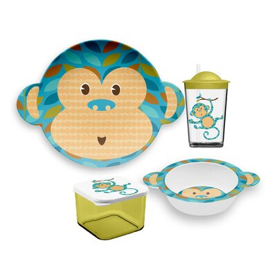 Friendly Faces Melamine Monkey Childrens 4 Piece Place Setting PFEEPTBJMG