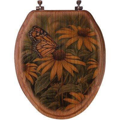 WGI Gallery Monarch Butterfly Oak Elongated Toilet Seat