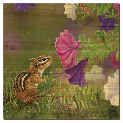 Chipmunk in the Garden Painting Print on Wood Size: 24