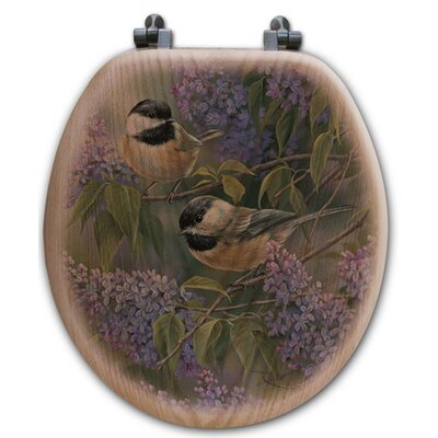 Chickadees and Lilac Oak Round Toilet Seat