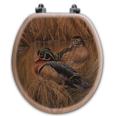 Back Water Wood Ducks Oak Round Toilet Seat