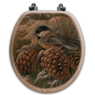 December Dawn Chickadee Oak Round Toilet Seat