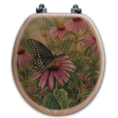Black Swallowtail Butterfly Oak Round Toilet Seat