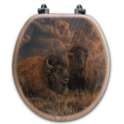 Distant Thunder Bison Oak Round Toilet Seat