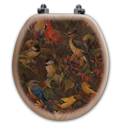 Berry Bush Songbirds Oak Round Toilet Seat