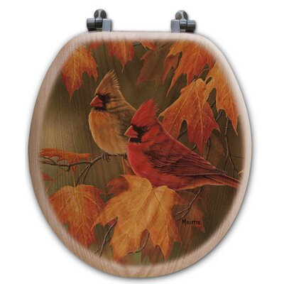 Maple Leaves and Cardinals Oak Round Toilet Seat
