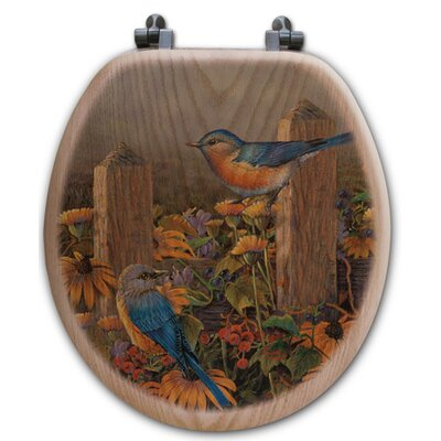 Lindas Bluebirds Oak Round Toilet Seat