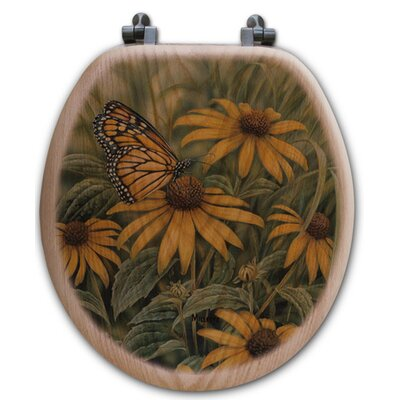 Monarch Butterfly Oak Round Toilet Seat