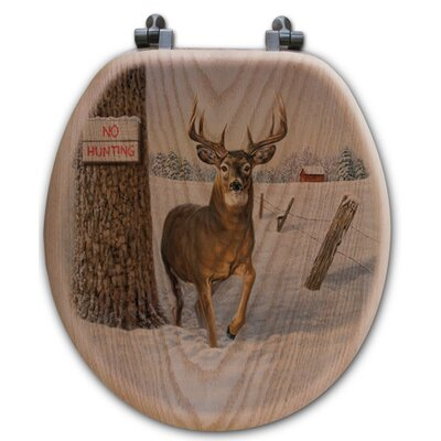 No Hunting Oak Round Toilet Seat