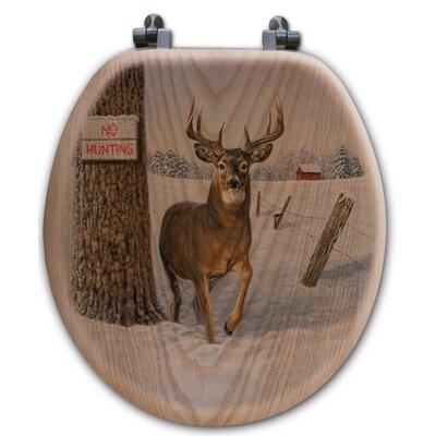 No Hunting Oak Round Toilet Seat