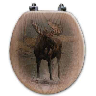 Quiet Water Moose Oak Round Toilet Seat