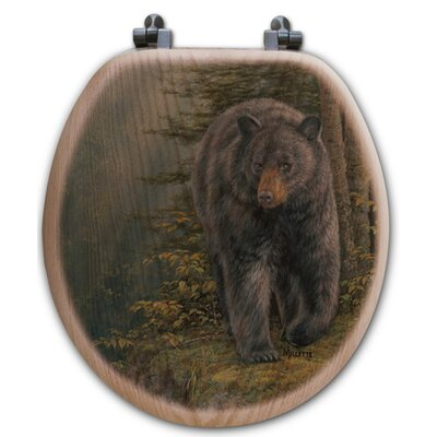 Rocky Outcropping Bear Oak Round Toilet Set