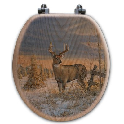 Whitetail Deer in Winter Oak Round Toilet Seat