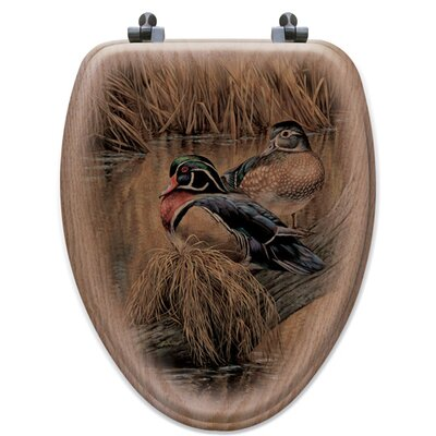 Back Water Wood Ducks Oak Elongated Toilet Seat
