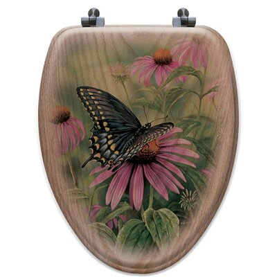 Black Swallowtail Butterfly Oak Elongated Toilet Seat