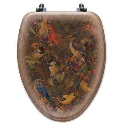 Berry Bush Songbirds Oak Elongated Toilet Seat