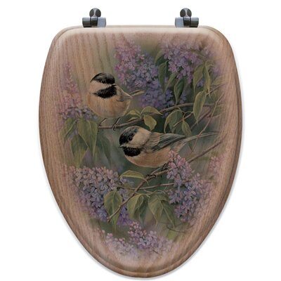Chickadees and Lilac Oak Elongated Toilet Seat