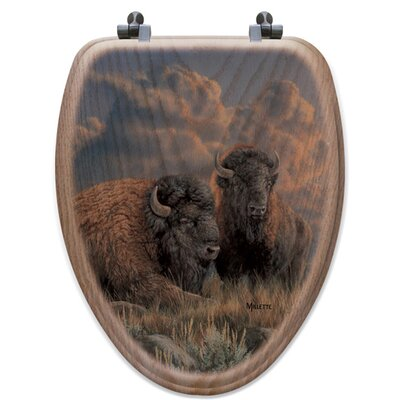 Distant Thunder Bison Oak Elongated Toilet Seat